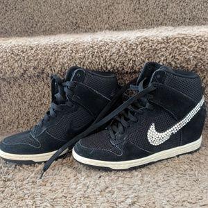 Nike Dunk Sky High Bling Black wedge Sneakers W6